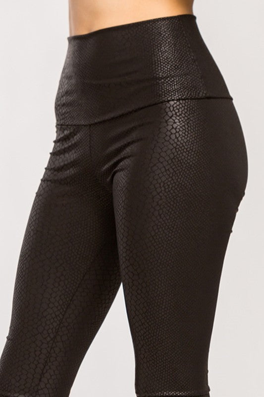 Leggings, Faux Black Snakeskin