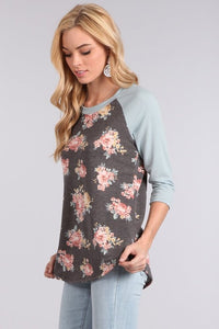 Raglan, Charcoal Floral and Blue Sleeves