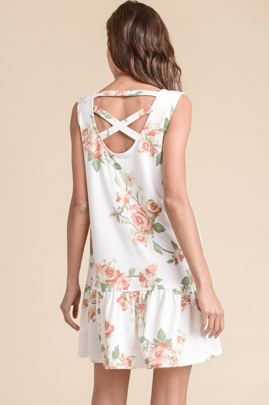 Ivory Floral (Criss-Cross Back) Dress