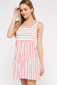 Pink Striped Tiered Dress