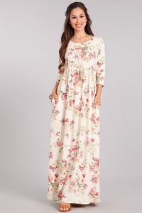 Maxi, Ivory Floral 3/4 Sleeve