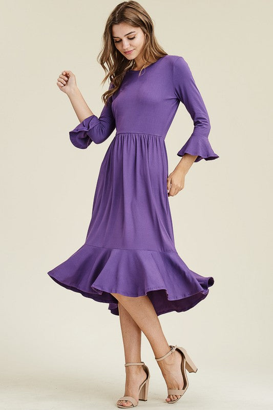 Violet Midi Dress with Ruffles