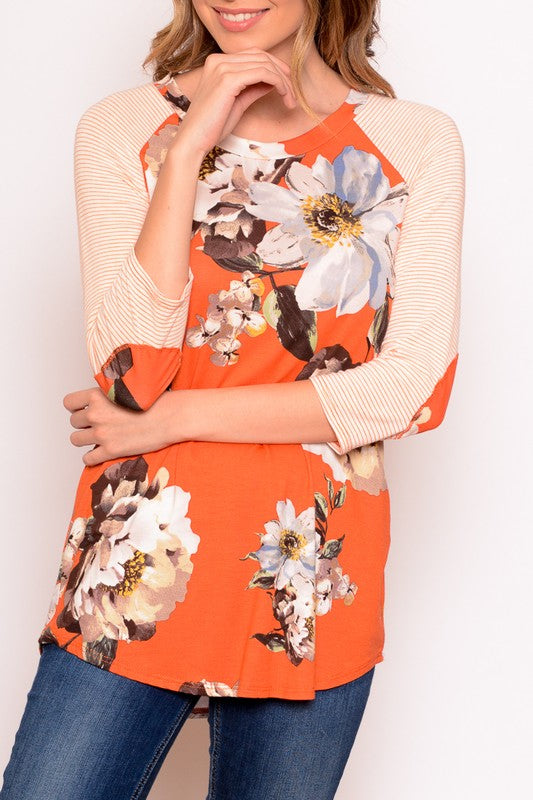 Raglan, Coral Floral with Striped Sleeves
