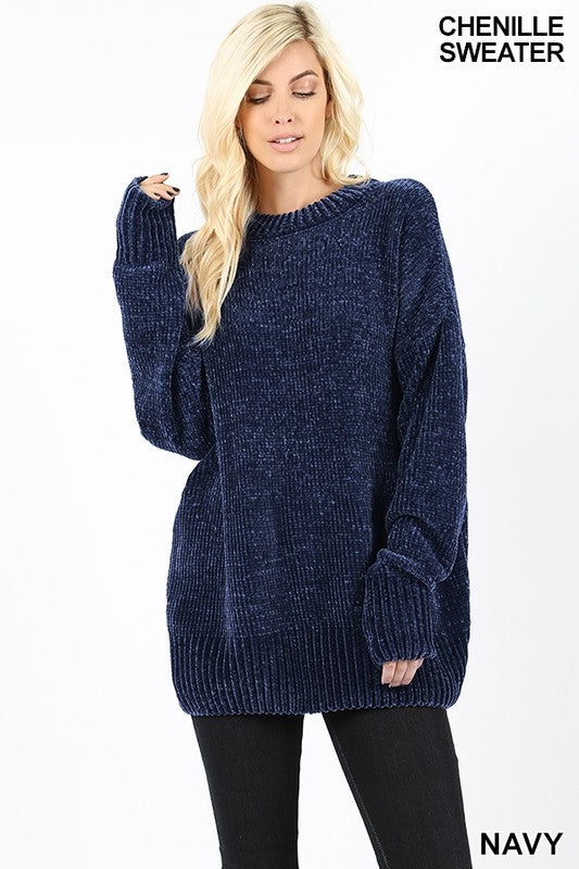 Oversized Navy Chenille Sweater