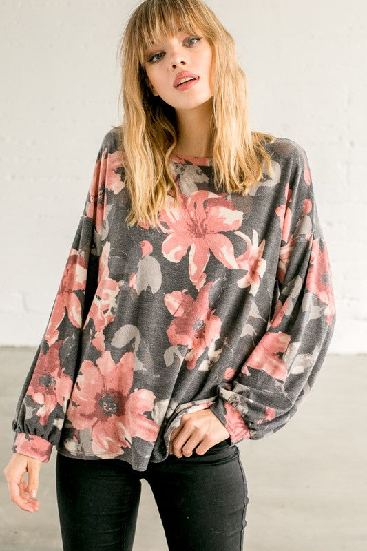 Charcoal Floral LS Puffed Sleeve Top