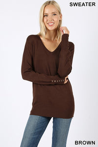 Brown Sweater with Button Detail on Cuff