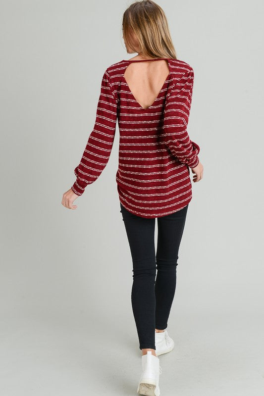 Red Striped Top with Cut Out Back
