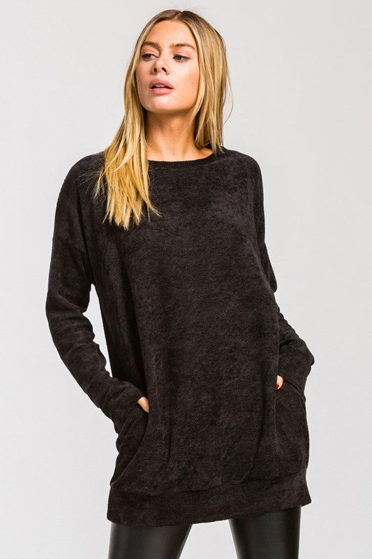 Black Chenille Tunic