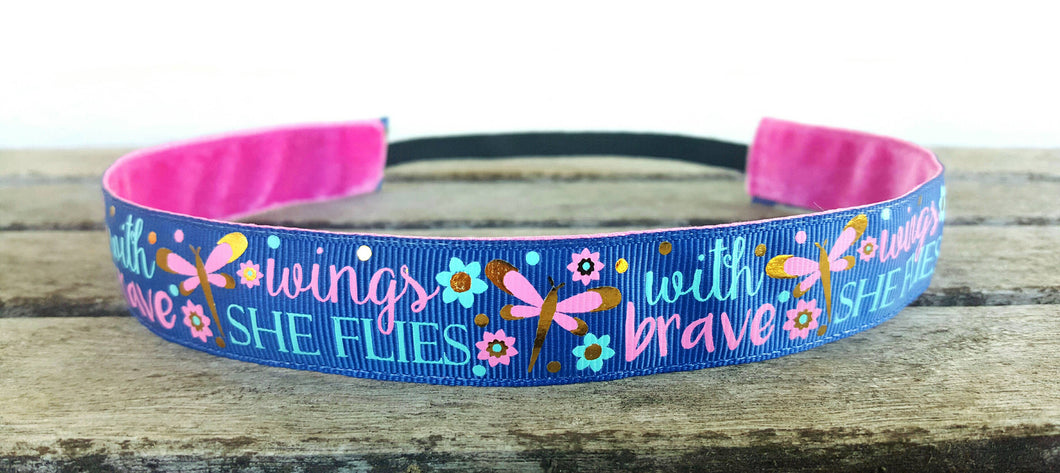 With Brave Wings She Flies Nonslip Headband
