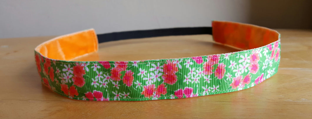 Lilly Inspired Pink Green Coral Floral Nonslip Headband