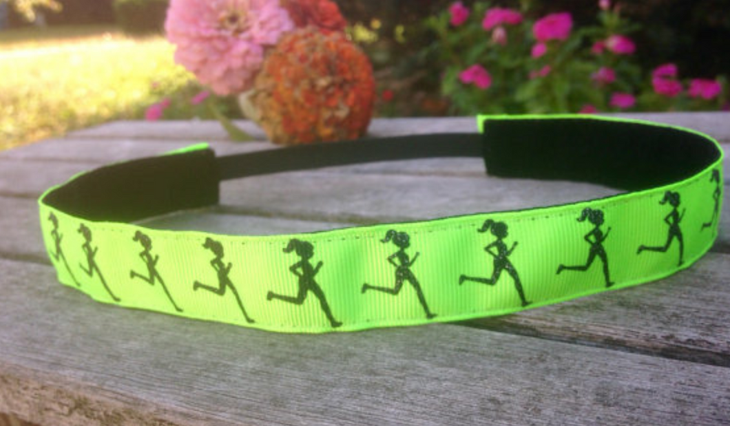 Neon Green Runner Girl Nonslip Headband