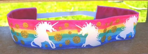 Be a Unicorn Rainbow Watercolor Wide Nonslip Headband