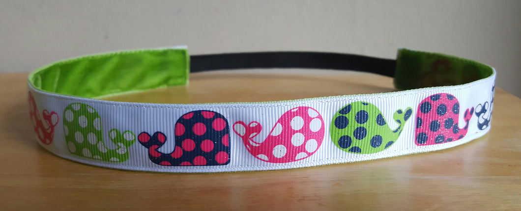Preppy Polka Dot Whales Nonslip Headband