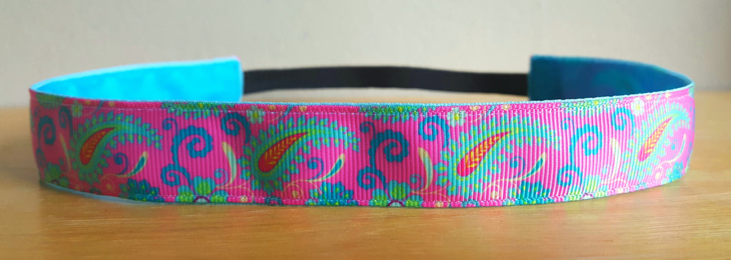 Pink and Mint Paisley Nonslip Headband