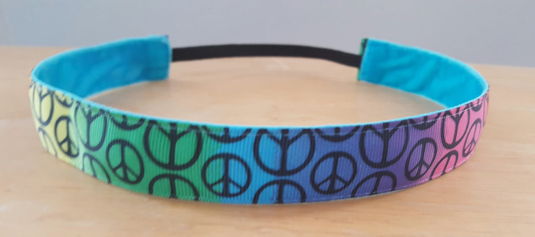 Rainbow Peace Sign Nonslip Headband