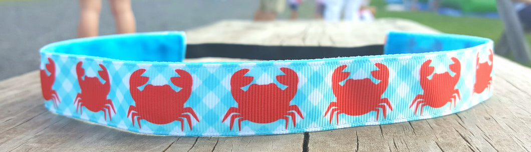 Crabs and Gingham Nonslip Headband