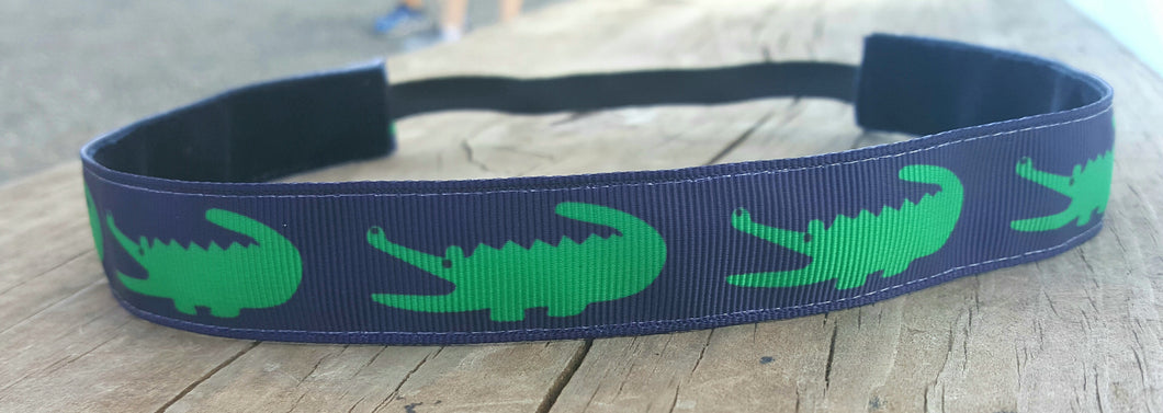 Green and Navy Alligator Nonslip Headband