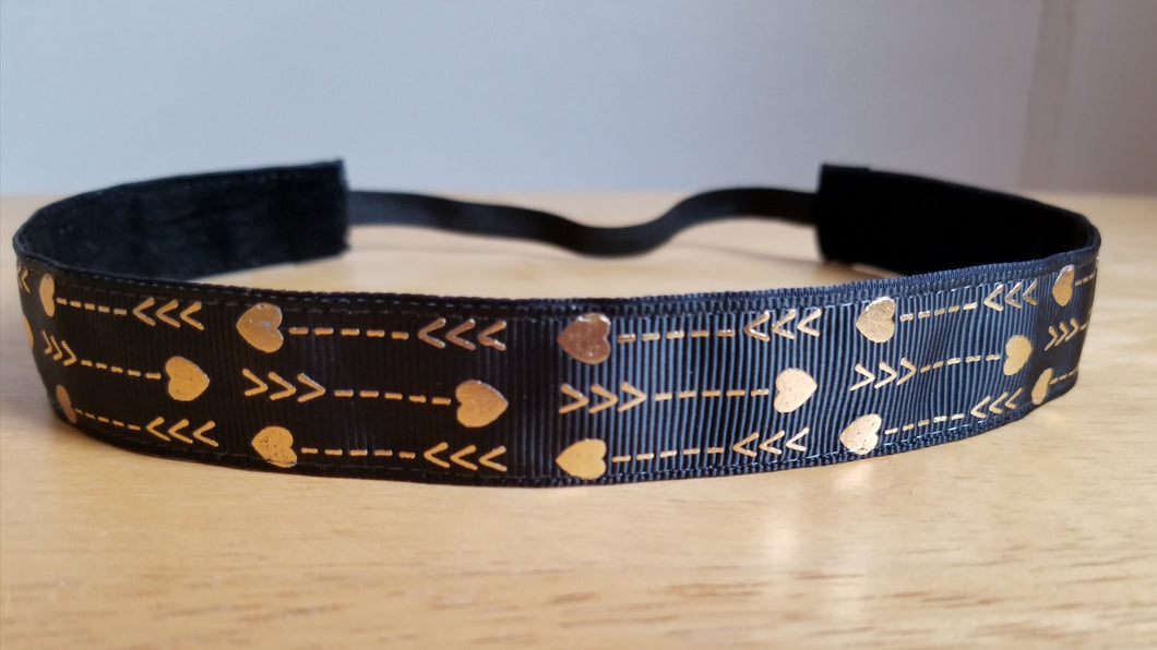 Gold Foil Heart Arrows on Black Nonslip Headband