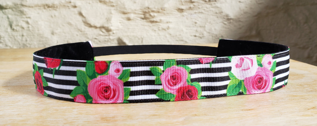 Roses on Stripes Nonslip Headband