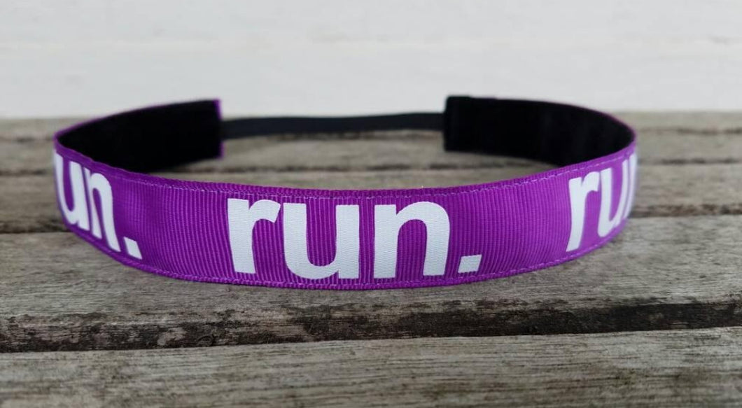 Purple and White RUN Nonslip Headband