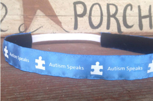 Autism Speaks Blue and White Puzzle Piece Headband