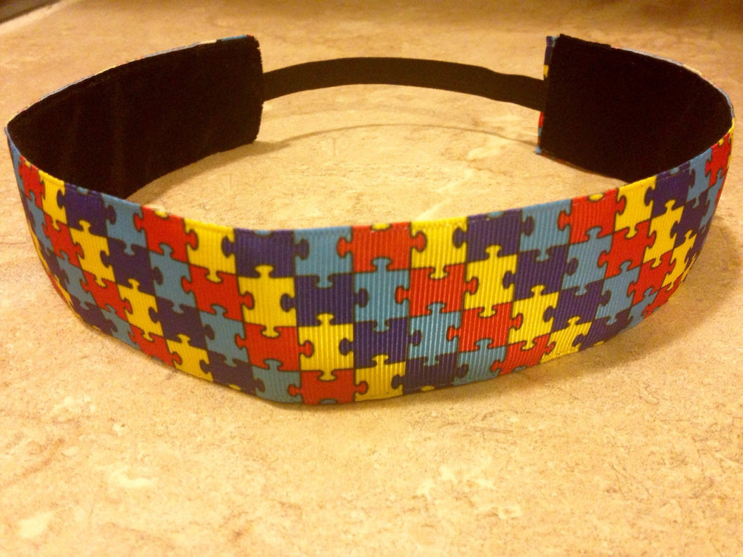 Colorful Puzzle Piece Wide Headband for Autism Awareness