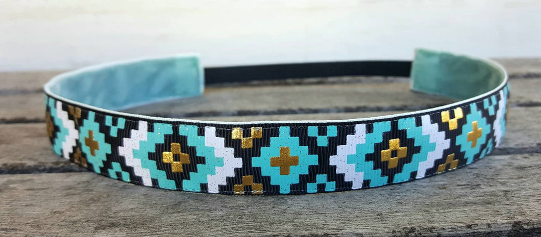 Blue, White and Gold Metallic Aztec Nonslip Headband
