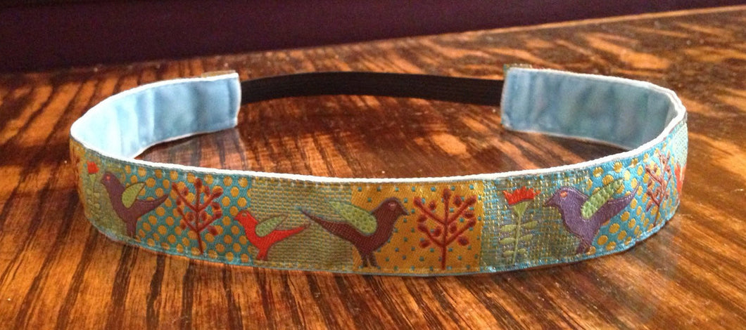 Birds & Trees Turquoise/Gold Headband