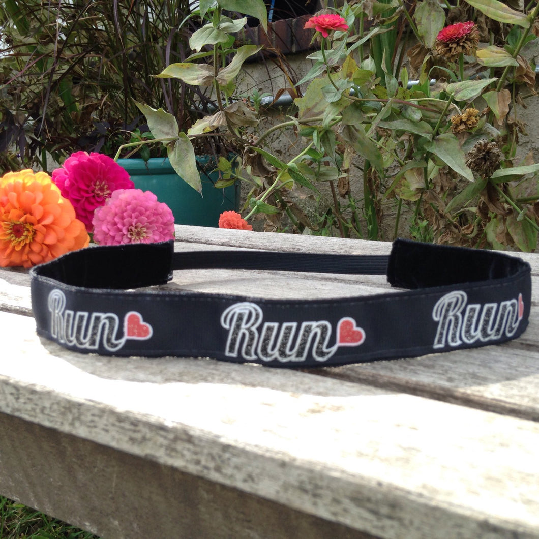 Black Run with Heart Run Headband