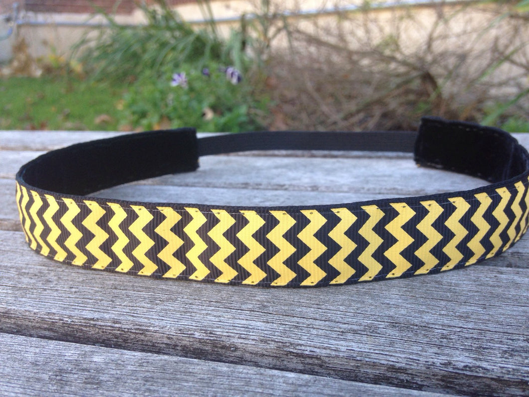 Black and Yellow Chevron Print Headband