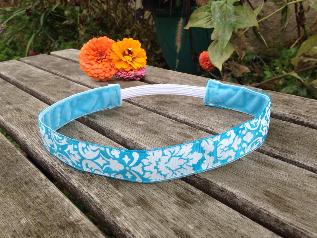 Blue and White Damask Hip Girl Designs Headband