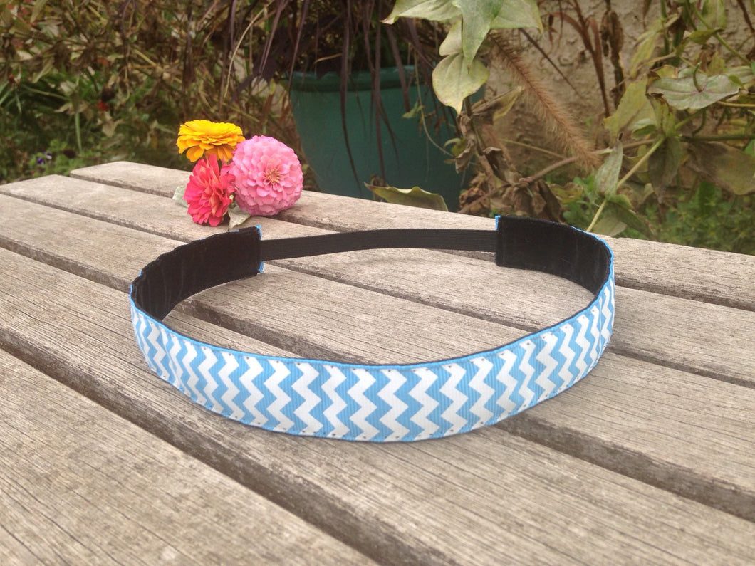 Blue and White Zig Zag Headband