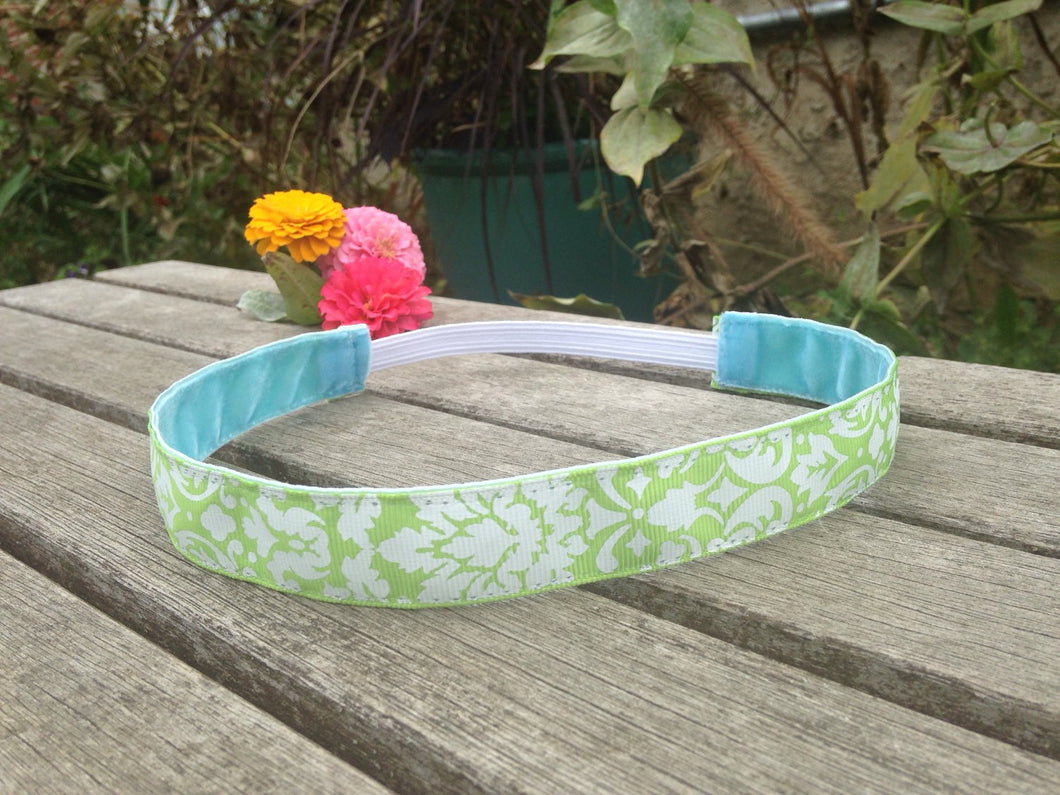 Green and White Damask Hip Girl Designs Headband