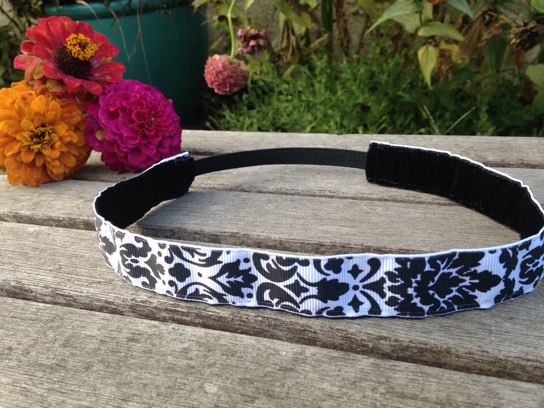 Black and White Damask Nonslip Headband