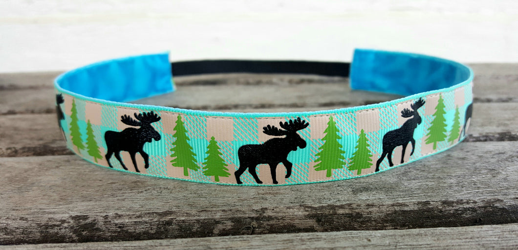 Blue Green Moose Print Nonslip Headband