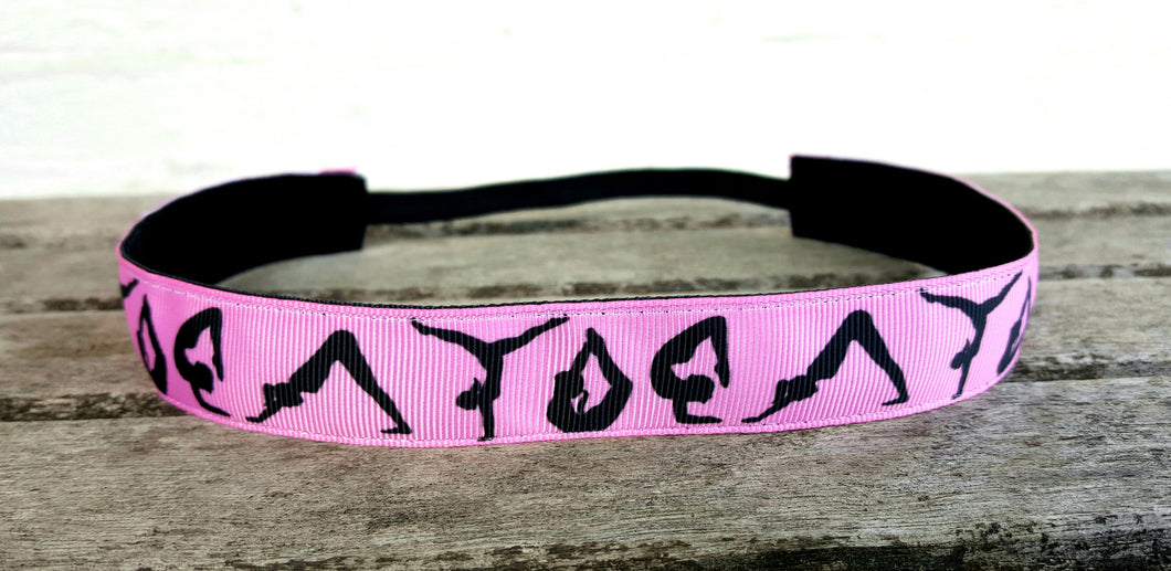 Gymnastics, Yoga, Dance Nonslip Headband- Pink and Black