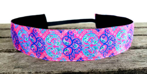 Lilly Inspired Pink, Blue and Purple Damask- Wide Style