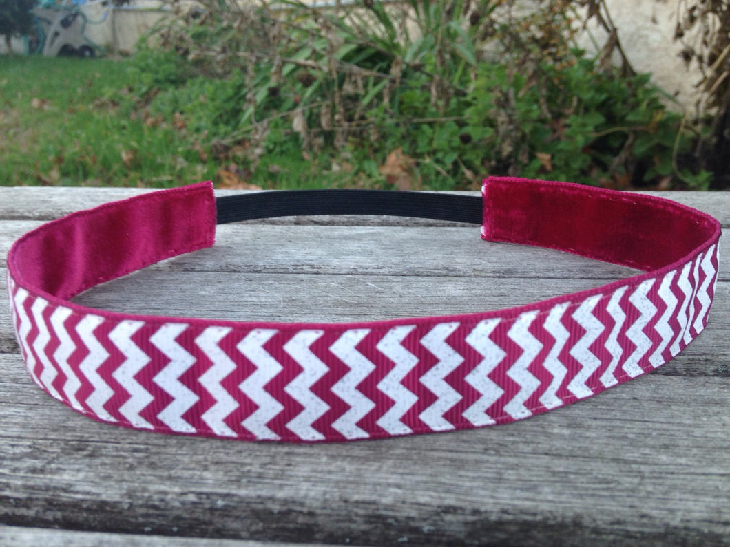 Maroon and Sliver Sparkle Chevron Headband