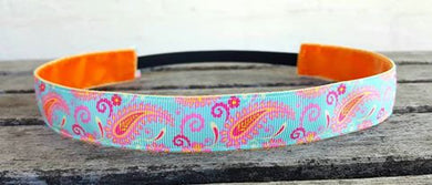 Mint and Tangerine Paisley Nonslip Headband