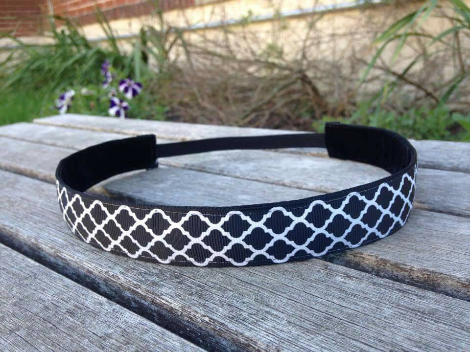 Black and White Moroccan Lattice Headband
