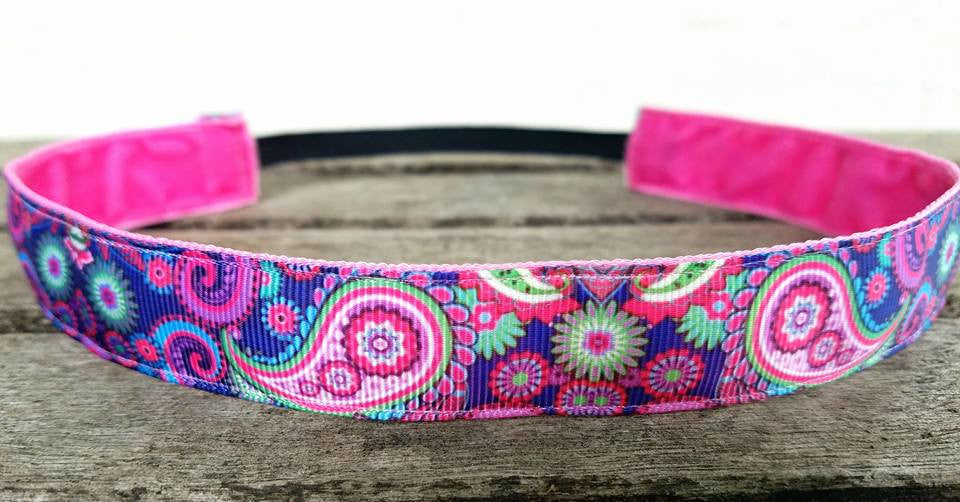 Pink and Purple Paisley Nonslip Headband