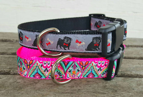 Adorable Pug and Lilly inspired Dog Collars