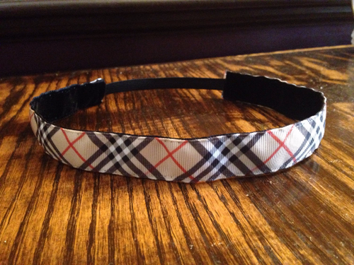 Tan Plaid Print Headband