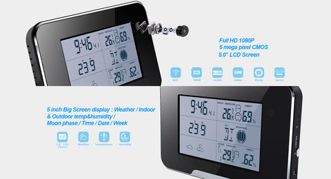 1080P Wifi Weather Station Spy Camera with P2P TI-WSWI