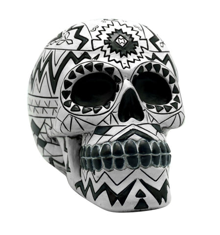 "Bank -  Skull with Aztec Design, 4"" H x 5"" L"