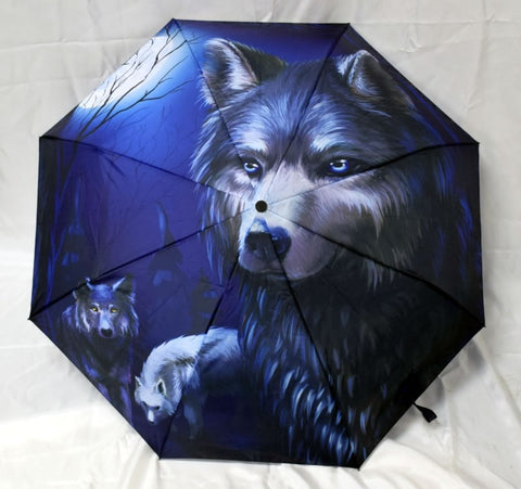 "Umbrella - Wolf, 10"" L closed, opens to 21"" L x 36"" W"