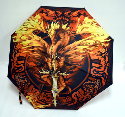"Umbrella - Flame Blade Dragon, 10"" L closed, opens to 21"" L x 36"" W"