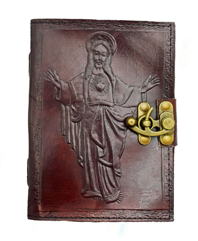 Blessings of Jesus Hand Embossed Leather Journal, 5 x 7 inches