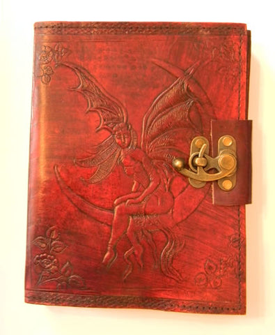 Moon Fairy Embossed Leather Journal