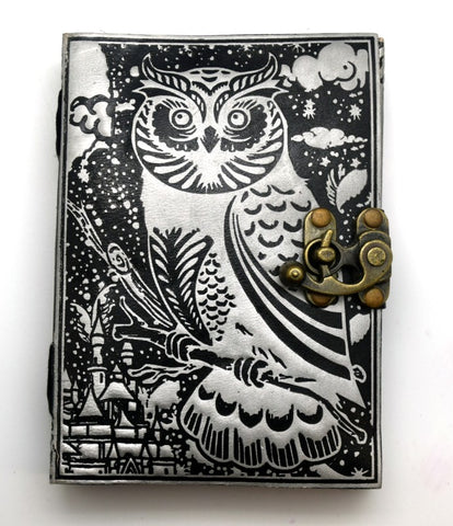 Black and Silver Owl Embossed Leather Bound Journal